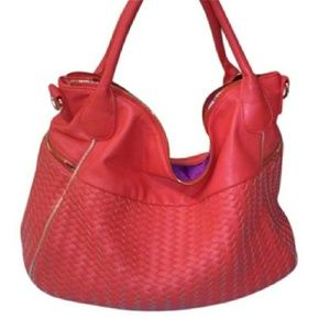 Deux Lux Coral Woven Handbag Shoulder Red